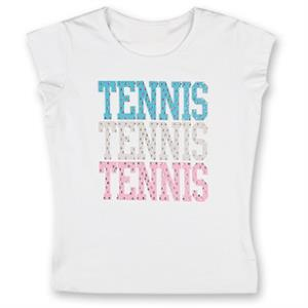 Little Miss Tennis Classic Tee (White/ Aqua/ Pink)