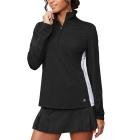 Fila Women's Core Performance Half Zip Tennis Jacket (Black/White/Black) -