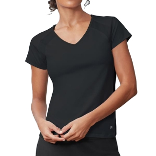 Fila Women's Core Performance Short Sleeve Tennis Top (Black)