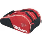 Wilson Federer Court Collection 15 Pack Tennis Bag (Red/ White) - Racquet Bags