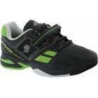 Babolat Propulse BPM Wimbledon Junior Tennis Shoes (Black/ Green) - Tennis Shoes for Kids