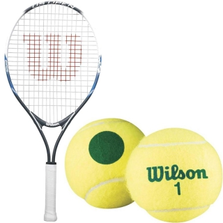Wilson US Open Junior Tennis Racquet bundled with Green Dot Starter Tennis Balls