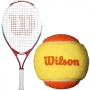 Wilson US Open Junior Tennis Racquet bundled with Orange Transition Tennis Balls