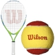 Wilson US Open Junior Tennis Racquet, Red Felt Tennis Balls - Junior Bundle Packs