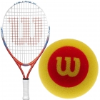Wilson US Open Junior Tennis Racquet, Red Foam Tennis Balls - Junior Tennis Racquet + Ball Bundles