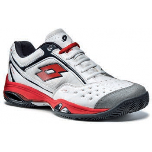 Lotto Men's Vector IV Tennis Shoes (White/ Red)