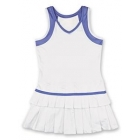 Little Miss Tennis Double Pleats Sleeveless Dress (White/ Purple) - Girls's Tennis Apparel
