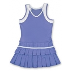 Little Miss Tennis Double Pleats Sleeveless Dress (Purple/ White) - Girls's Tennis Apparel
