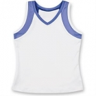 Little Miss Tennis V-Neck Tank (White/ Purple) - Girls's Tennis Apparel