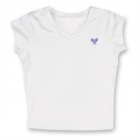 Little Miss Tennis Classic V-Neck Top (White/ Purple) - Girls's Tennis Apparel