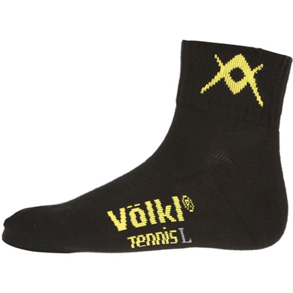 Volkl Men's Quarter Court Crew Socks (Blk/ Ylw)