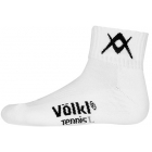 Volkl Men's Quarter Court Crew Socks (Wht/ Blk) - Men's Socks Tennis Apparel
