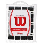 Wilson Advantage Overgrip 12-pack (Black) - Absorbent Over Grips