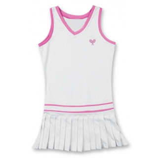 Little Miss Tennis Sleeveless Pleated Dress (Wht/ Pnk)