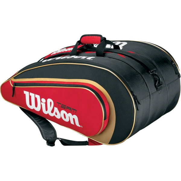 Wilson BLX Team II Super Six Tennis Bag (Blk/ Gld/ Red)