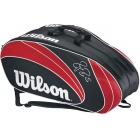 Wilson Federer 12 Pack  Bag (Red/ Blk Wht) - 7 Racquet Tennis Bags