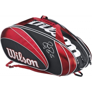Wilson Federer 15 Pack Tennis Bag (Red/ Blk Wht)