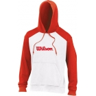 Wilson Men's Fleece Hoody (Red/ Wht) - Men's Outerwear Warm-Ups Tennis Apparel