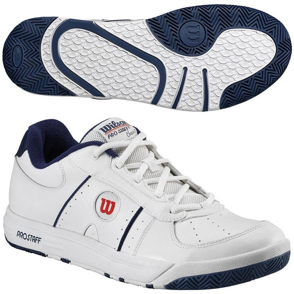 Wilson Men's Pro Staff Classic II Tennis Shoe (Wht/ Nvy/ Red)