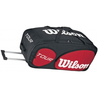 Wilson Tour Traveler Tennis Bag with Wheels (Blk/ Red/ Wht)