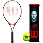 Wilson Federer Junior Tennis Racquet, Roger Federer Legacy Tennis Balls Can - Junior Bundle Packs