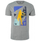 Wilson Men's Geo Play Tech Tennis Tee (Heather Gray) - Wilson Men's Tennis Apparel