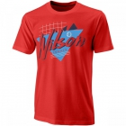 Wilson Men's Nostalgia Tech Tennis Tee (Infrared/White) - Wilson Men's Tennis Apparel