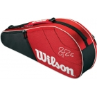 Wilson Federer Team Collection 3 Pack Tennis Bag (Red/ Black) - Wilson Federer Tennis Bags