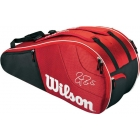 Wilson Federer Team Collection 6 Pack Tennis Bag (Red/ Black) - Wilson Federer Tennis Bags