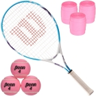 Wilson Serena Williams Junior Tennis Racquet, Pink Tennis Balls Can - Junior Tennis Racquet + Ball Bundles