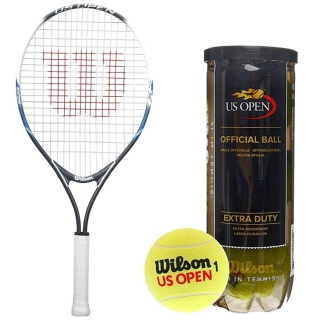 Wilson US Open Junior Tennis Racquet bundled with a Can of US Open Tennis Balls