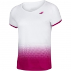 Babolat Women's Compete Cap Sleeve Tennis Top w/ Fiber-Dry Polyester (White/Vivacious Red) - Babolat Women's Tennis Apparel