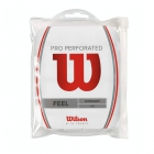 Wilson Pro Overgrip Perforated 12 pk (White) - Absorbent Over Grips
