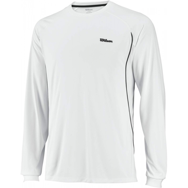 Wilson Mens Long Sleeve Straight Sets Crew (White/ Grey)