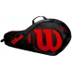 Wilson Junior 3 Pack Tennis Bag (Black/Red) - Tennis Gift Ideas for Junior Players
