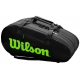 Wilson Super Tour 3 Compartment Tennis Bag (Black/Green) - 9 and 12+ Racquet Tennis Bags