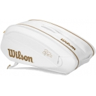 Wilson Federer DNA 12 Pack Tennis Bag (White/Gold) - 9 and 12+ Racquet Tennis Bags