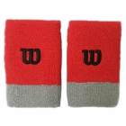 Wilson Extra Wide 'W' Tennis Wristband (Infrared/Alloy/Black) - Tennis Accessories