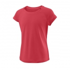 Wilson Girl's Cap Sleeve Tennis Tee (Fiery Coral) - Wilson Junior Tennis Apparel for Boys & Girls