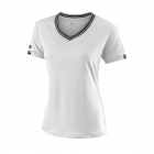 Wilson Women's V-Neck Team Tennis Top (White/Black) - Wilson Women's Tennis Apparel