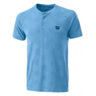 Wilson Men's Power Seamless Henley Tennis Shirt (Coastal Blue) - Wilson Men's Tennis Apparel