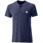 Wilson Men's Power Seamless Henley Tennis Shirt (Peacoat) - Wilson Men's Tennis Apparel