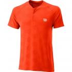 Wilson Men's Power Seamless Henley Tennis Shirt (Tangerine Tango) - Wilson Men's Tennis Apparel