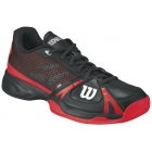 Wilson Mens Rush Pro Hardcourt Tennis Shoes (Black/ Red) - Wilson Rush Tennis Shoes