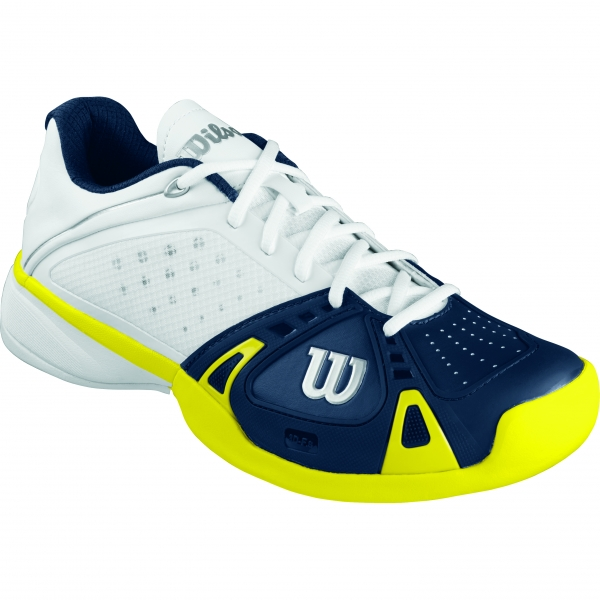 Wilson Mens Rush Pro Hardcourt Tennis Shoes (White/ Navy/ Sun)
