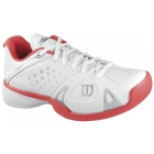 Wilson Womens Rush Pro Hardcourt Tennis Shoes (White/ Cherry) - Wilson Tennis Shoes