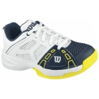 Wilson Rush Pro Junior Tennis Shoes (White/ Navy/ Yellow) - Wilson Junior Tennis Shoes