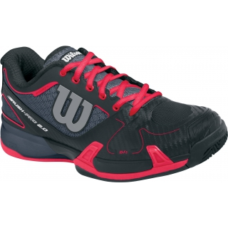best service 1dd4f 919bb Wilson Womens Rush Pro 2.0 Hardcourt Tennis Shoes (Coal Black Neon Red)