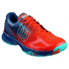 Wilson Men's Kaos Comp Tennis Shoes (Red/ Navy/ Aqua) - Lightweight Tennis Shoes