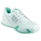 Wilson Women's Rush Pro 2.0 Tennis Shoes (White/ Grey/ Mint) - Types of Tennis Shoes